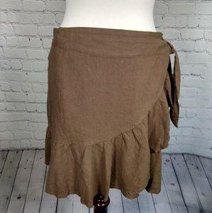 NWT Free People linen wrap ruffled skirt 10